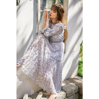 snidel - Her lip to Dream floral long dress