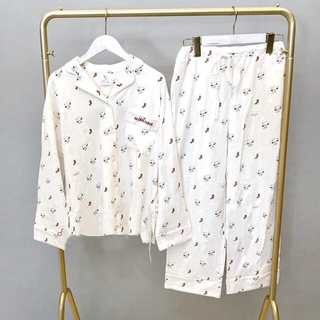 gelato pique -   ジェラートピケ レディース  シャツ パジャマ ルームウェア 上下セット 白