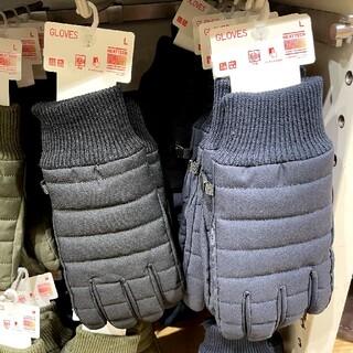 ユニクロ(UNIQLO)のユニクロ 手袋 グローブ ネイビー L(手袋)