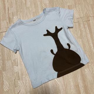 MUJI (無印良品) - 無印良品 Tシャツ 半袖 カブトムシ ブルー 80