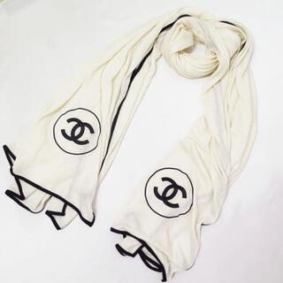シャネル(CHANEL)のCHANEL シャネル カシミヤ シルク ココ マーク 刺繍 大判 ストール(ストール/パシュミナ)