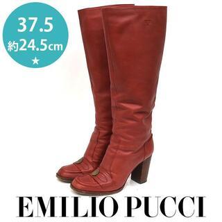 エミリオプッチ(EMILIO PUCCI)のエミリオプッチ メダルコイン ロングブーツ 37.5(約24.5cm)(ブーツ)