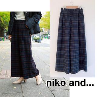 niko and... - rc21 ニコアンド ワイドパンツ ネイビー チェック 起毛
