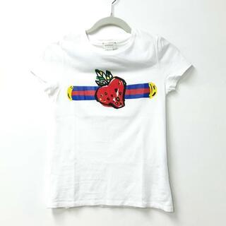 グッチ(Gucci)のグッチ 苺 ストロベリー ロゴ 半袖Tシャツ コットン キッズ ホワイト 白(Tシャツ/カットソー)