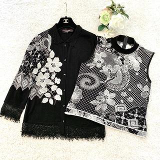 LEONARD - 新品同様‼️レオナール 美しい刺繍 シルク100%アンサンブル