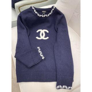 CHANEL - CHANELシャネル CCロゴ カシミア セーター ネイビー