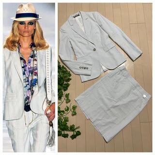 グッチ(Gucci)の本物 グッチ 1B ダブルG ストライプ スカートスーツ 36・38 白×水色(スーツ)