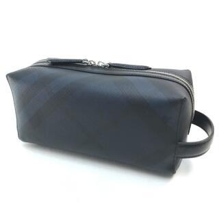 バーバリー(BURBERRY)の美品 バーバリー ロンドンチェック セカンドバッグ 4068331 ネイビー 紺(セカンドバッグ/クラッチバッグ)