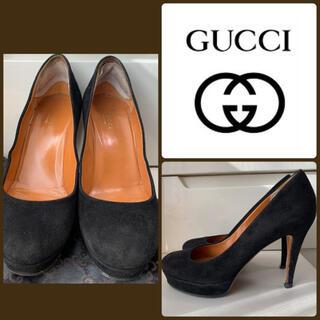 Gucci - GUCCI ブラックスエード パンプス