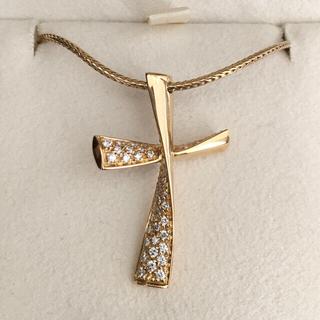 デビアス(DE BEERS)のDE BEERS デビアス ダイヤモンド クロス ネックレス K18 12.5g(ネックレス)