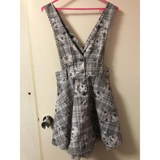 アクシーズファム(axes femme)のローズチェック柄ジャンパースカート(ひざ丈スカート)