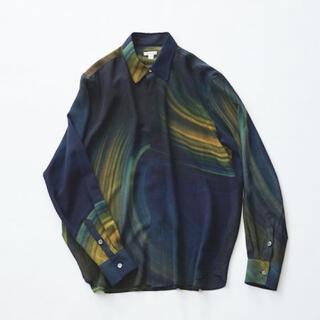COMOLI - masu 20aw marble print shirts BLUE