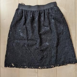 コムサイズム(COMME CA ISM)の【美品】COMME CA ISMコムサイズム レーススカート 黒 L(ひざ丈スカート)