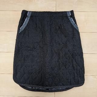 コムサイズム(COMME CA ISM)の【美品】COMME CA ISMコムサイズム キルティングスカート 黒 L(ひざ丈スカート)