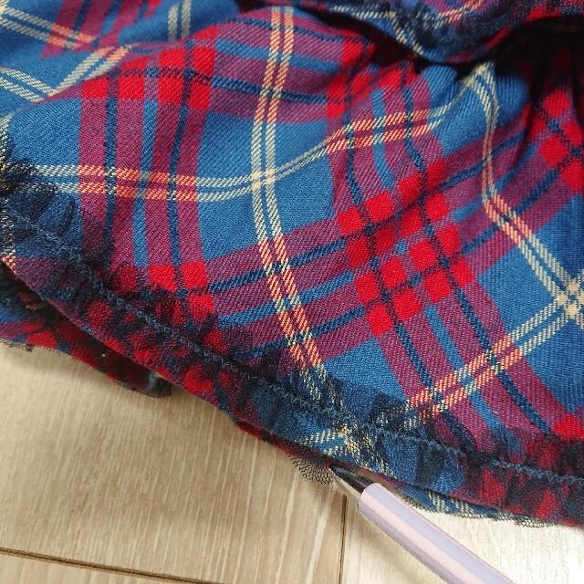 mezzo piano(メゾピアノ)のメゾピアノ 120cm チェック柄2段フリルキュロット キッズ/ベビー/マタニティのキッズ服女の子用(90cm~)(スカート)の商品写真