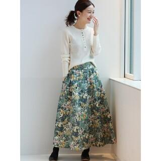 IENA - IENA かすれフラワー ギャザースカート グリーン 36