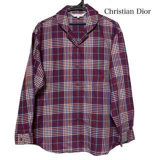 Christian Dior - Dior ディオール 長袖 シャツ 襟付き チェック 紫