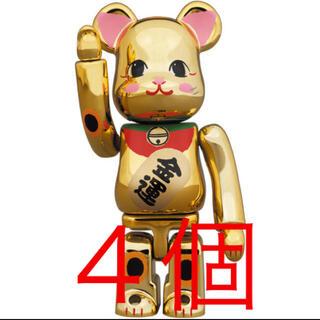 メディコムトイ(MEDICOM TOY)のBE@RBRICK 招き猫 金運 金メッキ 弐 100% 4個セット(その他)