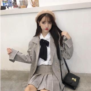 チェック ジャケット スカート セットアップ 韓国(セット/コーデ)