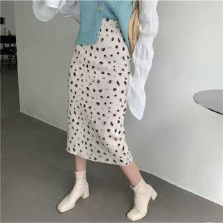 LE CIEL BLEU - レオパードデザイン膝丈スカート