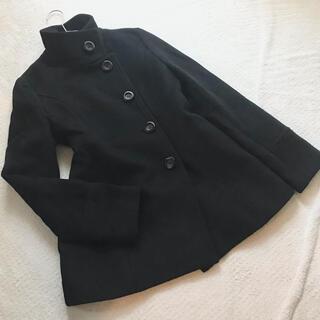 INDIVI - indivi アンゴラ混!ステンカラーコート pコート 38 M 黒 ブラック