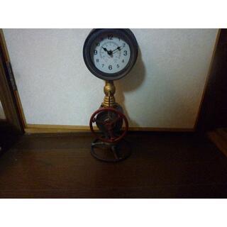 テーブルクロック 置き時計 ブリキ 水道管 工業系 バルブ