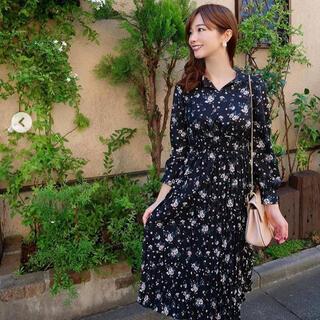 PROPORTION BODY DRESSING - プロポーションボディドレッシング 花柄ワンピース黒