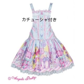 アンジェリックプリティー(Angelic Pretty)のAngelicPretty ToyDollBoxサロペットセットはにかみベアー(ひざ丈スカート)