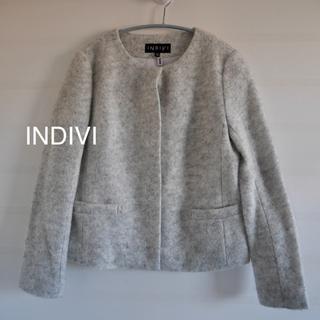 INDIVI - INDIVI ノーカラージャケット 秋冬用