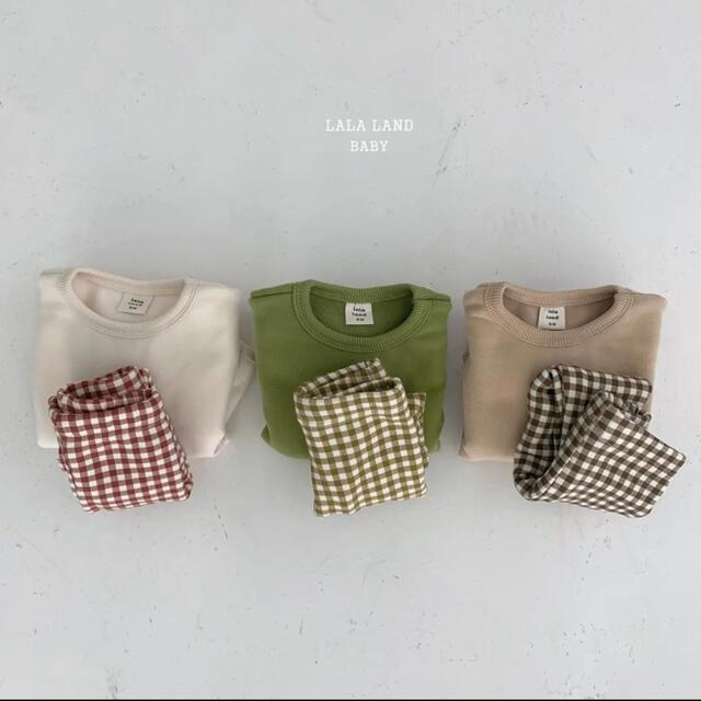 lalaland check setup 韓国子供服 セール 子供服 キッズ/ベビー/マタニティのベビー服(~85cm)(トレーナー)の商品写真