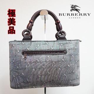 BURBERRY - BURBERRY LONDON 総柄 光沢 トートバッグ バック ハンドバック
