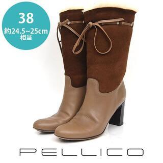 PELLICO - ペリーコ リボン 異素材 ミドルブーツ 38(約24.5-25cm)
