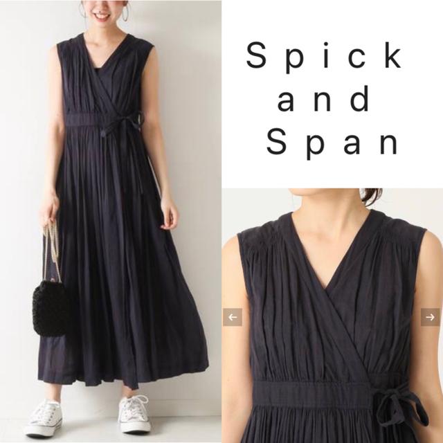 Spick and Span(スピックアンドスパン)のne Quittez pas コットンボイルクロスオーバーフロントドレス ワンピ レディースのワンピース(ロングワンピース/マキシワンピース)の商品写真