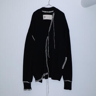 "COMOLI - (求)  OUAT"" -003- BLACK OFFICE CARDIGAN"