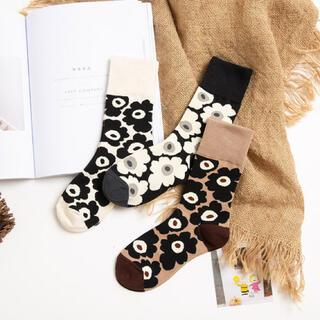 白 黒 茶 ソックス 靴下 花柄 マリメッコ 風 3枚 セット 韓国