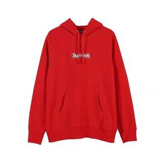 supreme ボックスロゴ パーカー XL 赤い色(パーカー)