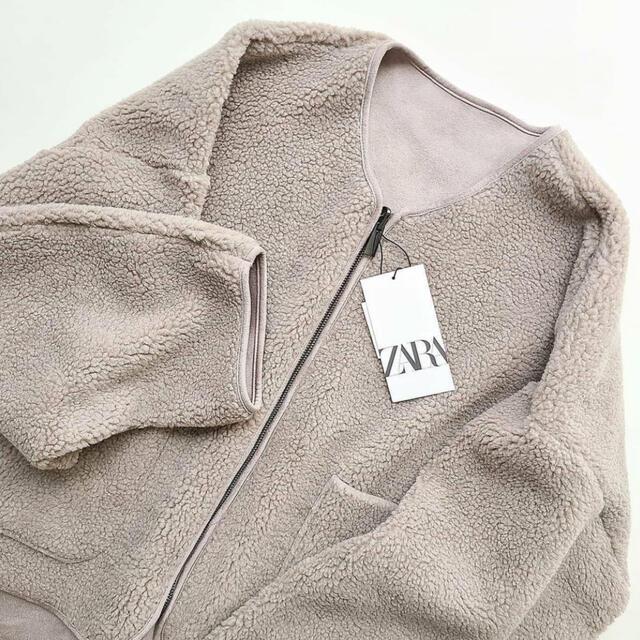 ZARA(ザラ)のZARA リバーシブル ダブルサイド ジャケット ボア レディースのジャケット/アウター(ノーカラージャケット)の商品写真