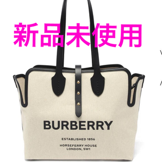 BURBERRY - (送料無料)BURBERRY  ホースフェリーミディアムキャンバストートバッグ