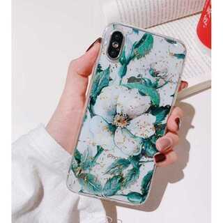 花柄 iPhone ケース iPhoneカバー 透明 クリア グリーン XR