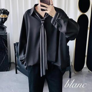 【残りわずか♪】ネクタイ付 長袖 ストライプ シャツ ビッグサイズ ブラック