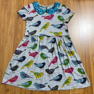 Boden - mini boden 小鳥柄ワンピース 7-8 120 130 スパンコール襟