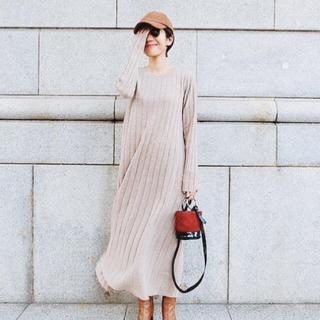 TODAYFUL - machatt ウールリブニットドレス ベージュ