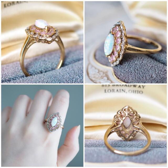 agete(アガット)の英国アンティークリング オパール×ダイヤ×ピンクトルマリン K10✨agete レディースのアクセサリー(リング(指輪))の商品写真