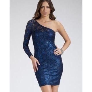 リプシー(Lipsy)のLipsy リプシー ワンショルダー ドレス スパンコール レース ブルー(ミディアムドレス)