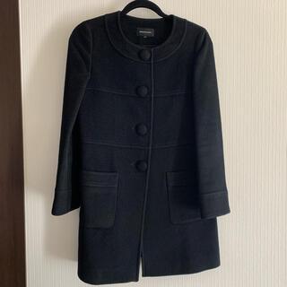 クイーンズコート(QUEENS COURT)のコート 黒 QUEENS COURT サイズ1 ウールコート(ロングコート)