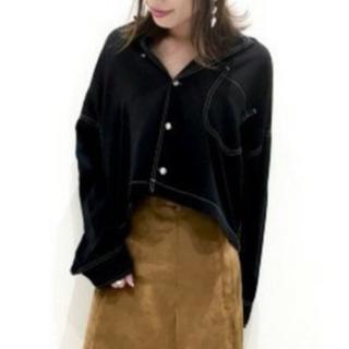 JEANASIS - JEANASIS ステッチショートシャツLSブラックホワイトステッチ