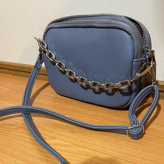 ザラ(ZARA)のショルダーバッグ くすみブルー×シルバー(ショルダーバッグ)