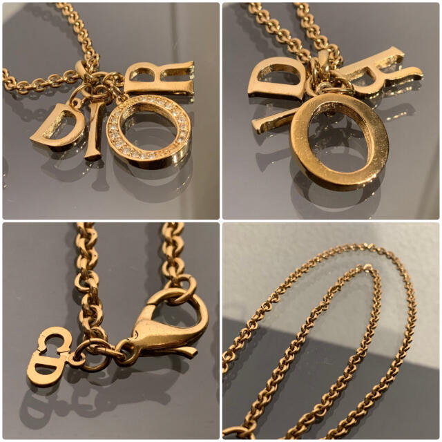 Christian Dior(クリスチャンディオール)の完売モデル 良品 ディオール 4連ロゴ ネックレス ラインストーン ゴールド レディースのアクセサリー(ネックレス)の商品写真