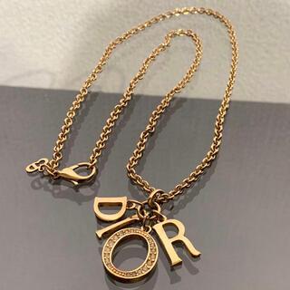 Christian Dior - 完売モデル 良品 ディオール 4連ロゴ ネックレス ラインストーン ゴールド