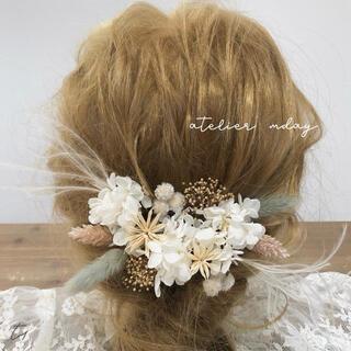 髪飾り【T1】ヘッドパーツ ドライフラワー 結婚式 成人式 卒業式 和装 花